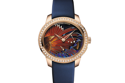 Ulysse Nardin Jade - 18k Rose Gold & Diamond on Blue Satin - Lionfish Dial