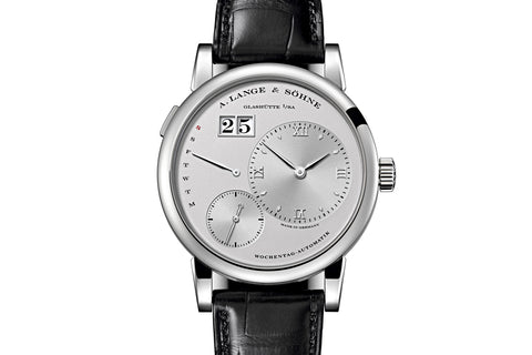 A. Lange & Sohne Lange 1 Daymatic - Platinum on Black Leather - Silver Dial