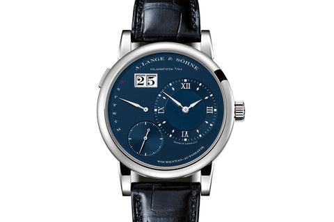 A. Lange & Sohne Lange 1 Daymatic - 18k White Gold on Black Leather - Blue Dial