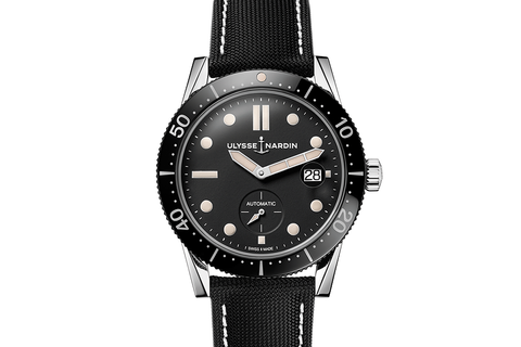 Ulysse Nardin Diver Chronometer - Stainless Steel on Black Sailcloth - Black Dial