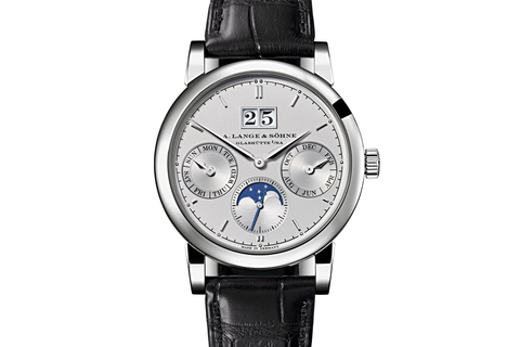 A. Lange & Sohne Saxonia Annual Calendar - Platinum on Black Leather - Silver Dial