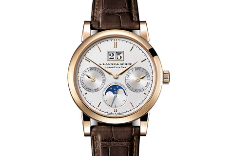 A. Lange & Sohne Saxonia Annual Calendar - 18k Rose Gold on Brown Leather - Silver Dial