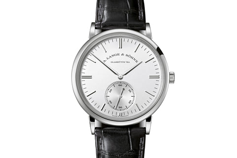 A. Lange & Sohne Saxonia Automatic - 18k White Gold on Black Leather - Silver Dial