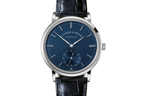 A. Lange & Sohne Saxonia Automatic - 18k White Gold on Blue Leather - Blue Dial