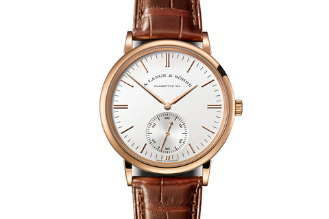 A. Lange & Sohne Saxonia Automatic - 18k Rose Gold on Brown Leather - Silver Dial