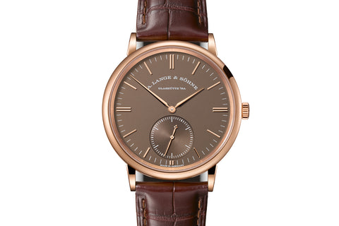 A. Lange & Sohne Saxonia Automatic - 18k Rose Gold on Brown Leather - Chocolate Dial