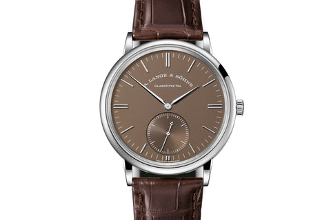 A. Lange & Sohne Saxonia Automatic - 18k White Gold on Brown Leather - Chocolate Dial