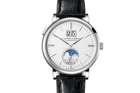 A. Lange & Sohne Saxonia Moonphase - 18k White Gold on Black Leather - Silver Dial