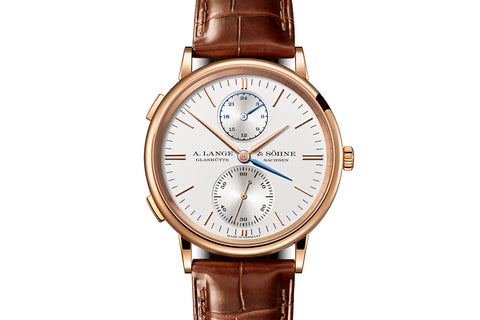 A. Lange & Sohne Saxonia Dual Time - 18k Rose Gold on Brown Leather - Silver Dial