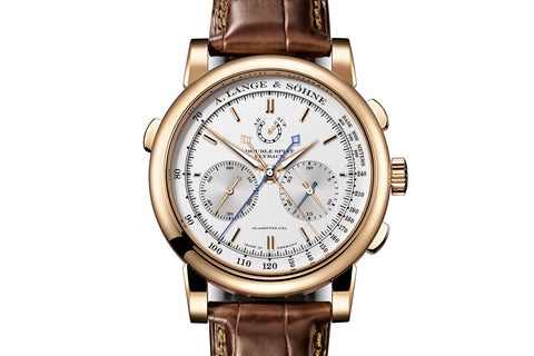 A. Lange & Sohne Double Split - 18k Rose Gold on Brown Leather - Silver Dial
