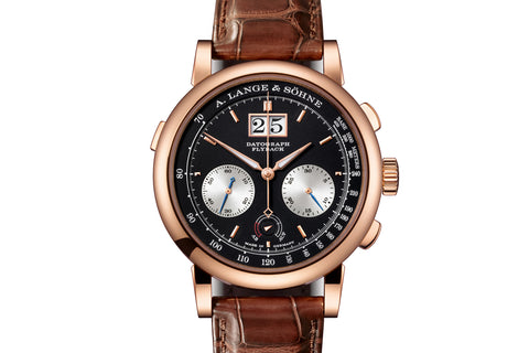 A. Lange & Sohne Datograph Up/Down - 18k Rose Gold on Brown Leather - Black Dial