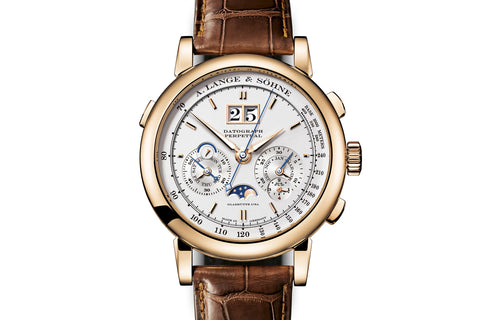 A. Lange & Sohne Datograph Perpetual - 18k Rose Gold on Brown Leather - Silver Dial
