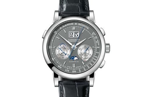 A. Lange & Sohne Datograph Perpetual - 18k White Gold on Black Leather - Grey Dial