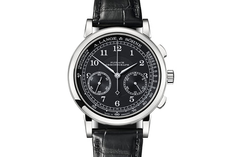 A. Lange & Sohne 1815 Chronograph - 18k White Gold on Black Leather - Black Dial