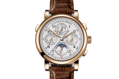 A. Lange & Sohne 1815 Rattrapante Perpetual Calendar - 18k Rose Gold on Brown Leather - Silver Dial