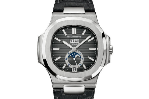 Patek Philippe Nautilus Moonphase 5726A-001 - Stainless Steel on Black Leather - Black Dial