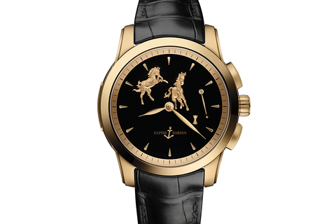 Ulysse Nardin Classic Hourstriker Horse Edition - 18k Rose Gold on Black Leather - Black Horse Dial