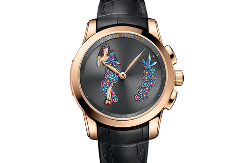 Ulysse Nardin Classic Hourstriker Pin Up Edition - 18k Rose Gold on Black Leather - Black Pin Up Dial