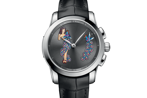 Ulysse Nardin Classic Hourstriker Pin Up Edition - Platinum on Black Leather - Black Pin Up Dial