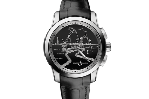 Ulysse Nardin Classic Hourstriker Oil Edition - Platinum on Black Leather - Black Oil Dial