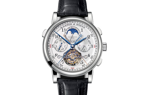 "A. Lange & Sohne Tourbograph Perpetual ""Pour le Mérite"" - Platinum on Black Leather - Silver Dial"