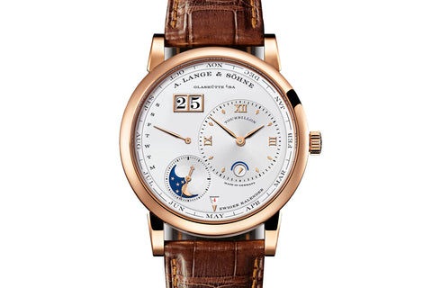 A. Lange & Sohne Lange 1 Tourbillon Perpetual Calendar - 18k Rose Gold on Brown Leather - Silver Dial