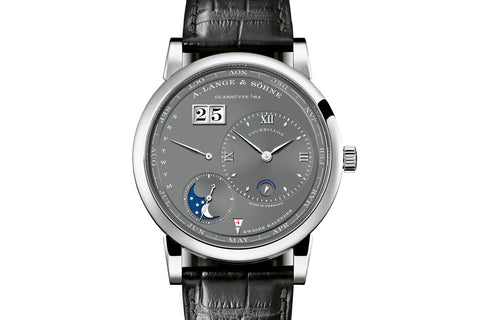 A. Lange & Sohne Lange 1 Tourbillon Perpetual Calendar - 18k White Gold on Black Leather - Grey Dial