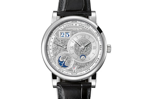 A. Lange & Sohne Lange 1 Tourbillon Perpetual Calendar Handwerkskunst - Platinum on Black Leather - Engraved Silver Dial