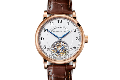 A. Lange & Sohne 1815 Tourbillon - 18k Rose Gold on Brown Leather - Silver Dial
