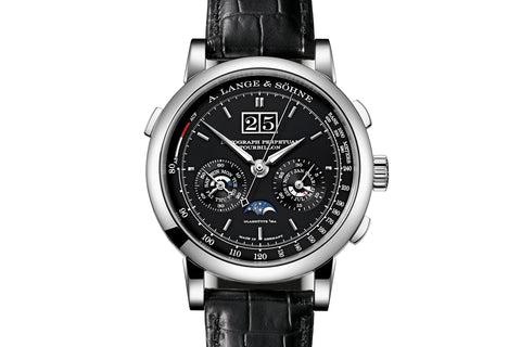 A. Lange & Sohne Datograph Perpetual Tourbillon - Platinum on Black Leather - Black Dial