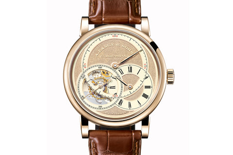 "A. Lange & Sohne Richard Lange Tourbillon ""Pour le Mérite"" Handwerkskunst - Honey Gold on Brown Leather - Gold Dial"