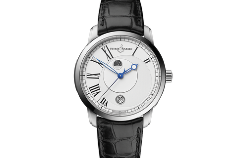 Ulysse Nardin Classic Luna - Stainless Steel on Black Leather - White Dial