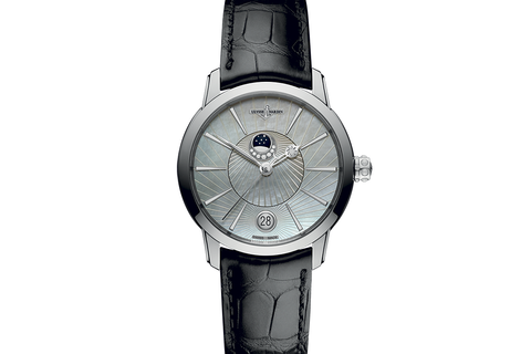 Ulysse Nardin Classic Lady Luna - Stainless Steel on Black Leather - Pearl Dial
