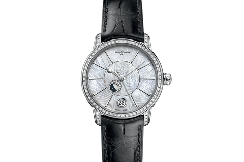 Ulysse Nardin Classic Lady Luna - Stainless Steel & Diamond on Black Leather - Pearl Dial
