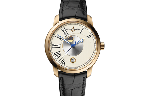 Ulysse Nardin Classic Luna - 18k Rose Gold on Black Leather - Eggshell Dial