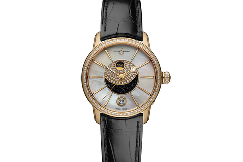Ulysse Nardin Classic Lady Luna - 18k Rose Gold & Diamond on Black Leather - Pearl & Aventurine Dial