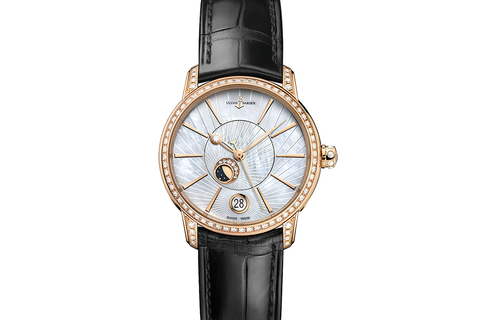 Ulysse Nardin Classic Lady Luna - 18k Rose Gold & Diamond on Black Leather - Pearl Dial