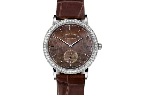 A. Lange & Sohne Saxonia - 18k White Gold & Diamond on Brown Leather - Chocolate Pearl Dial