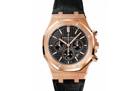 Audemars Piguet Royal Oak Chronograph 41mm 18K Rose Gold on Black Leather - Black Dial