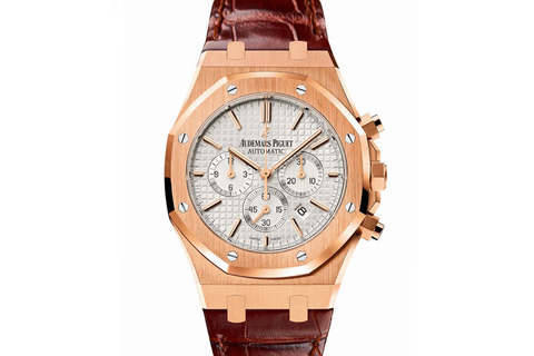 Audemars Piguet Royal Oak Chronograph 41mm 18K Rose Gold on Brown Leather - Silver Dial