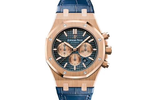 Audemars Piguet Royal Oak Chronograph 41mm 18K Rose Gold on Blue Leather - Blue Dial