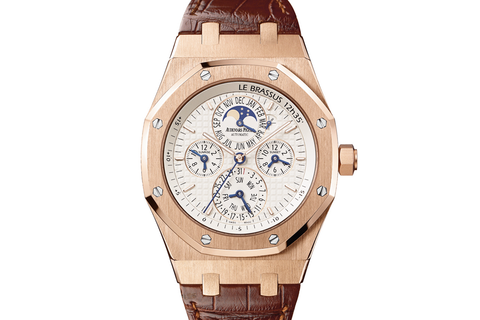 Audemars Piguet Royal Oak Equation of Time 42mm 18K Rose Gold on Brown Leather - Silver Dial