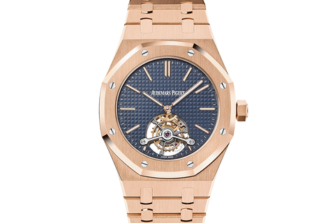 Audemars Piguet Royal Oak Extra Thin Tourbillon 41mm 18K Rose Gold on Bracelet - Blue Dial