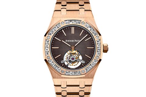 Audemars Piguet Royal Oak Extra Thin Tourbillon 41mm 18K Rose Gold on Bracelet - Brown Dial Diamond Bezel