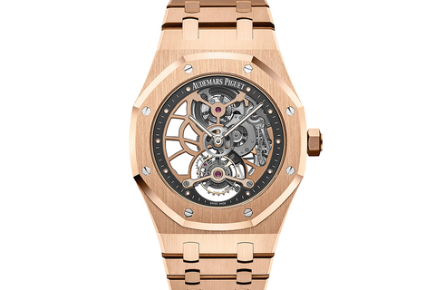 Audemars Piguet Royal Oak Extra Thin Tourbillon Openworked 41mm 18K Rose Gold on Bracelet - Grey Skeleton Dial