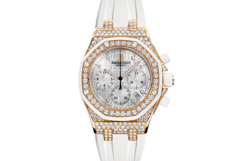 Audemars Piguet Royal Oak Offshore Chronograph 37mm 18K Rose Gold & Diamond on White Rubber - White Dial Diamond Bezel