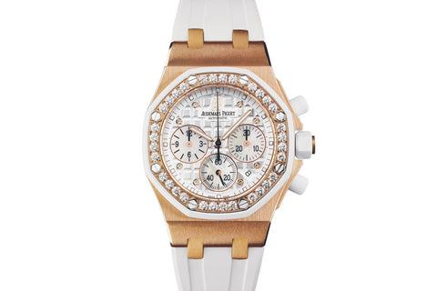 Audemars Piguet Royal Oak Offshore Chronograph 37mm 18K Rose Gold on White Rubber - White Dial Diamond Bezel