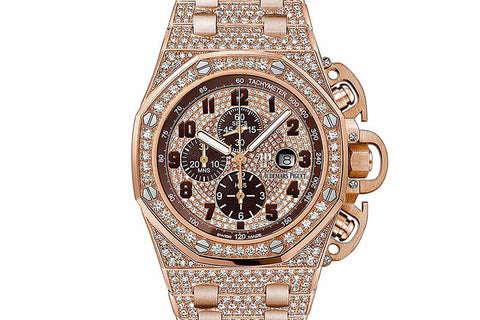 Audemars Piguet Royal Oak Offshore Chronograph 48mm 18K Rose Gold & Diamond on Bracelet - Brown & Diamond Dial