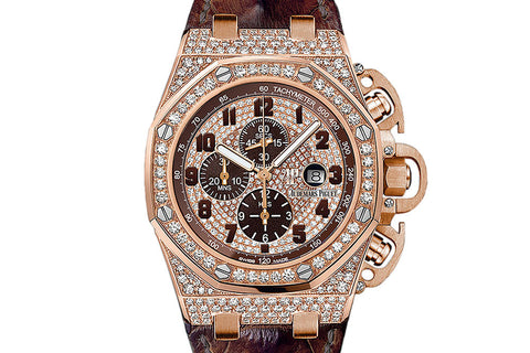 Audemars Piguet Royal Oak Offshore Chronograph 48mm 18K Rose Gold & Diamond on Brown Leather - Brown & Diamond Dial