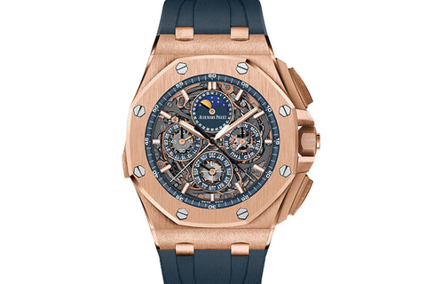 Audemars Piguet Royal Oak Offshore Chronograph Grande Complications 44mm 18K Rose Gold on Blue Rubber - Blue Dial